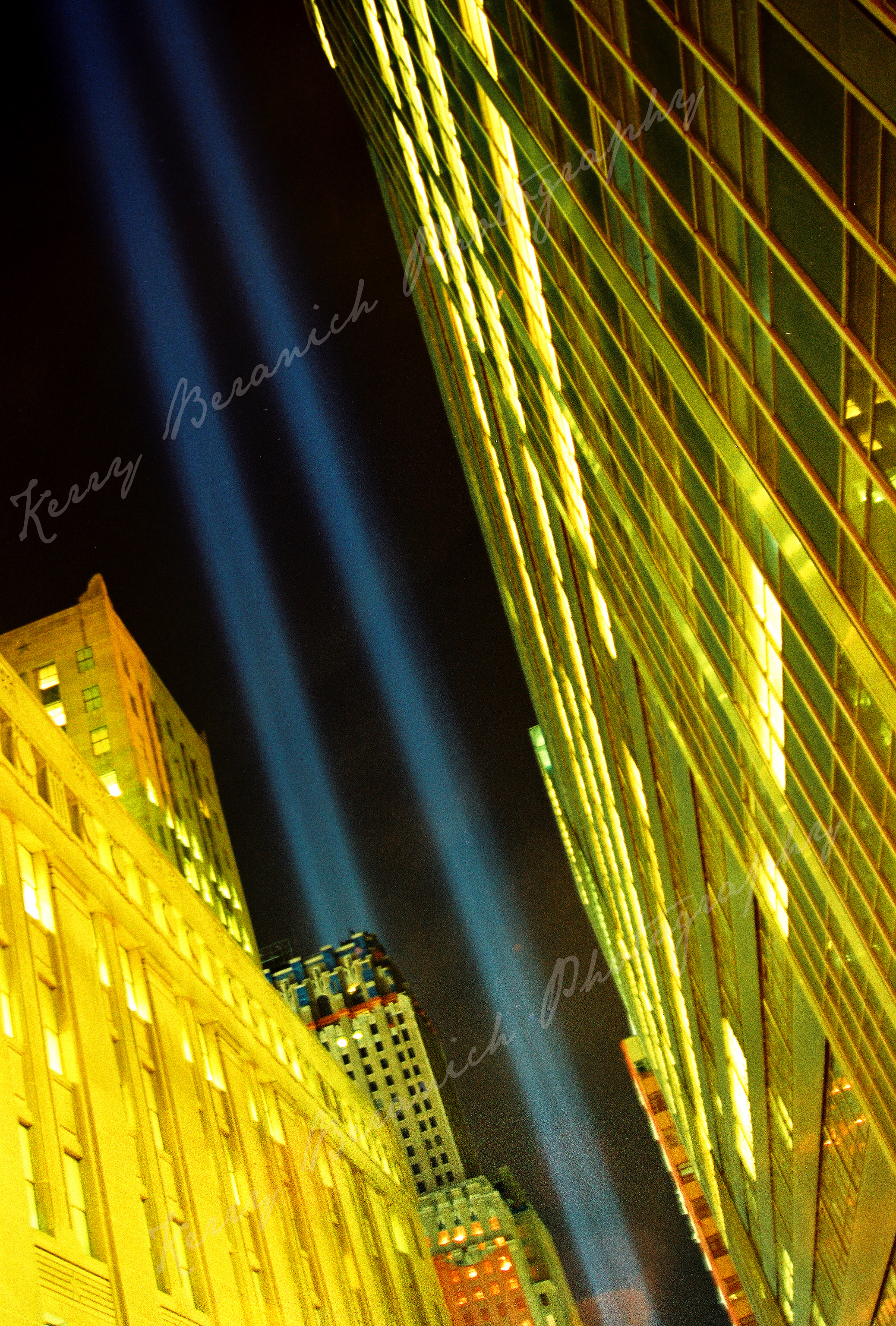 Twin tower lights watermark