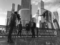 Group being interview downtownBW