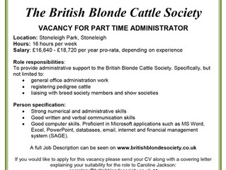 Vacancy for part time administrator