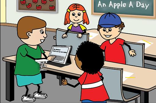 illustraion of kids using a tablet