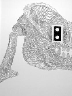 drom, dessin mural de squelette noir