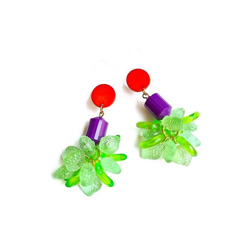 עגילי  מירנדה (ירוק ניאון, סגול וכתום)