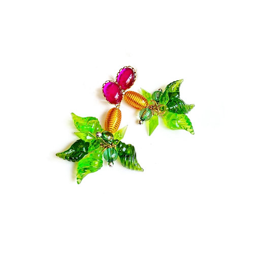 עגילי קונכיות ירוקות