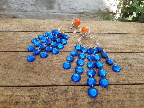 עגילי שנדלייר רויאל לב כחול