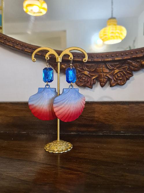 עגילי צדף (כחול ואדום)