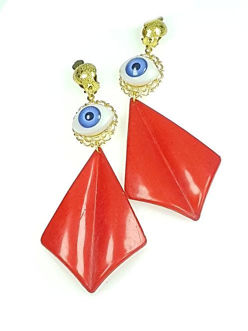 עגילי עיניים - מניפה אדומה