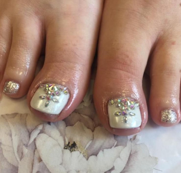 Gel Pedicure with Swarovski Gems