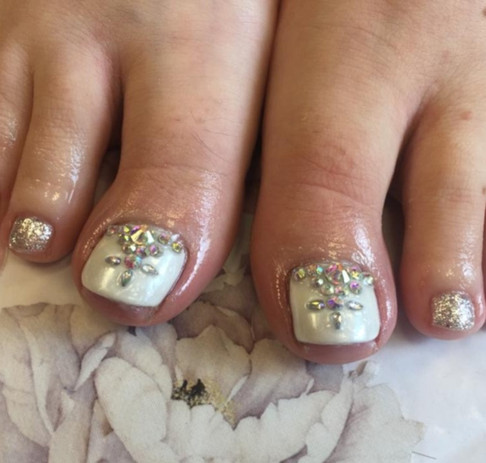 Gel Pedicure with Swarovski Gems