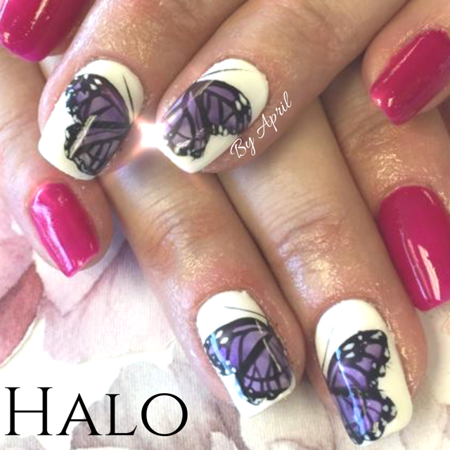 Butterfly Freehand Nail Art