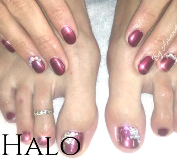 Matching Gel Manicure & Pedicure with Swarovski Gems