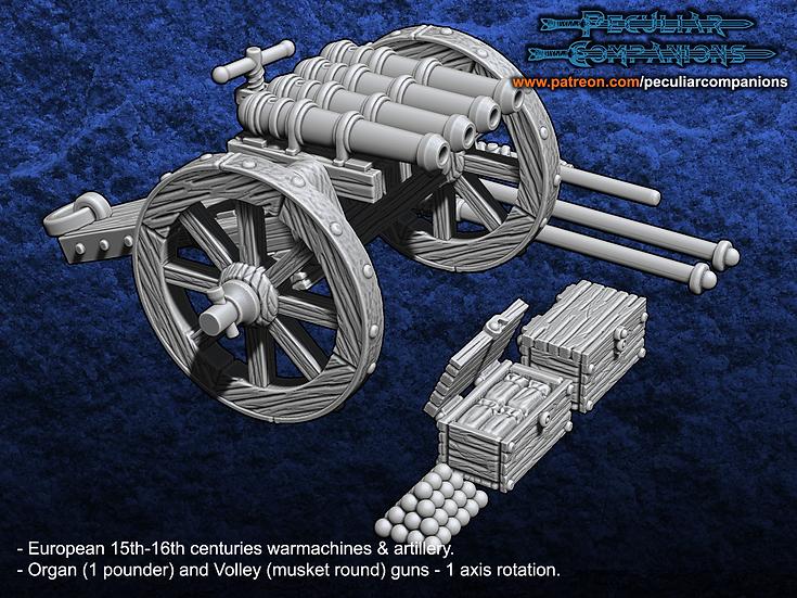 European Artillery - 1 pound organ gun & voley gun