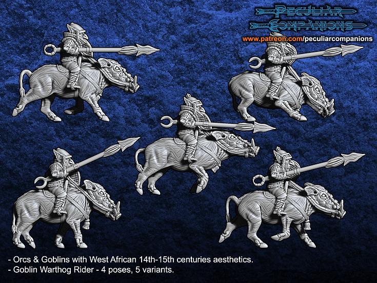 Benin Orcs & Gobs - Goblin Warthog Riders