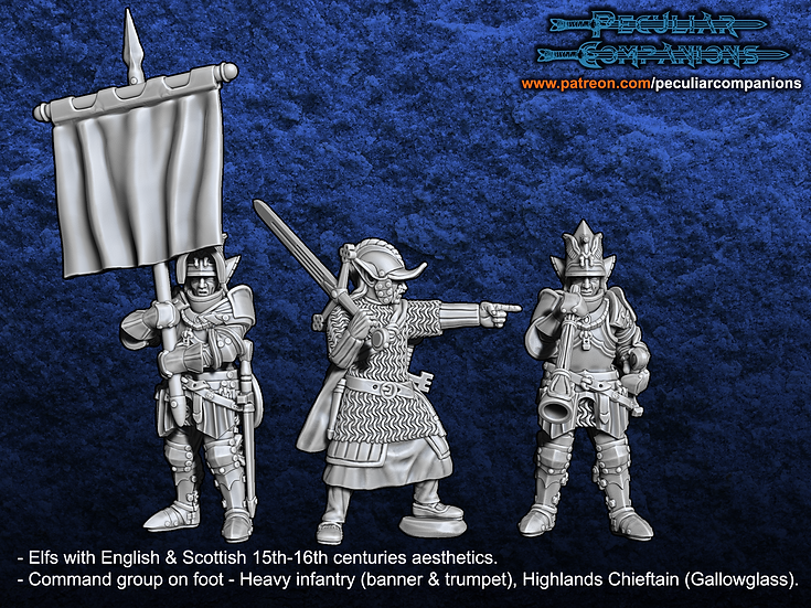 Anglo-Scottish Elfs - Command group on foot