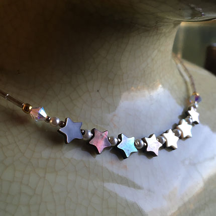Seven stars necklace, mother of pearl
