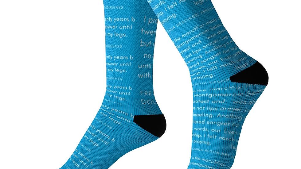 Heschel-Douglass Socks for Your Praying Feet (masorti blue)