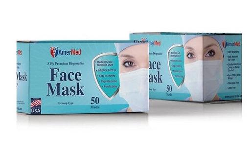 AMER-MED 3 Ply Masks, Level 3 (CASE)
