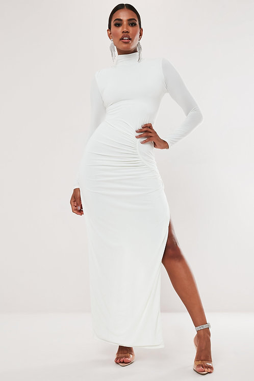 White high neck ruched maxi dress