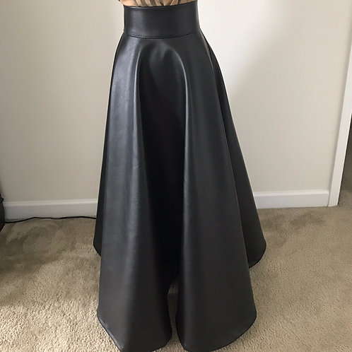 Leather flare skirt.