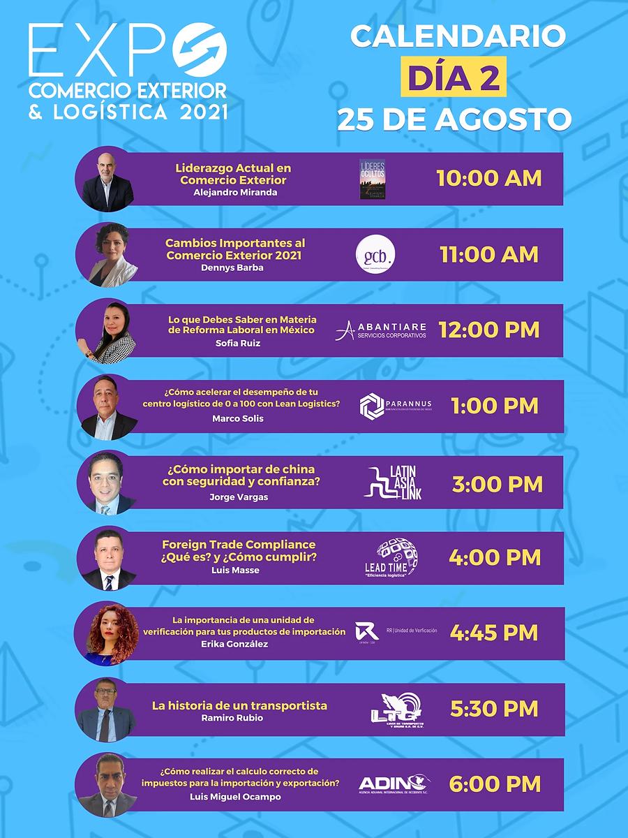Calendario Día 2 EXPO Comercio Exterior y Logística 2021.webp
