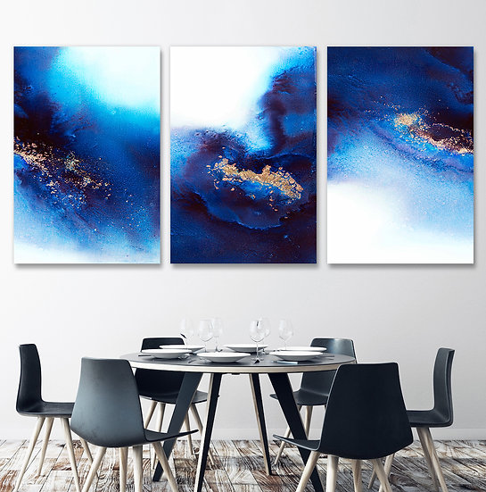 Blue And Gold - Triptych