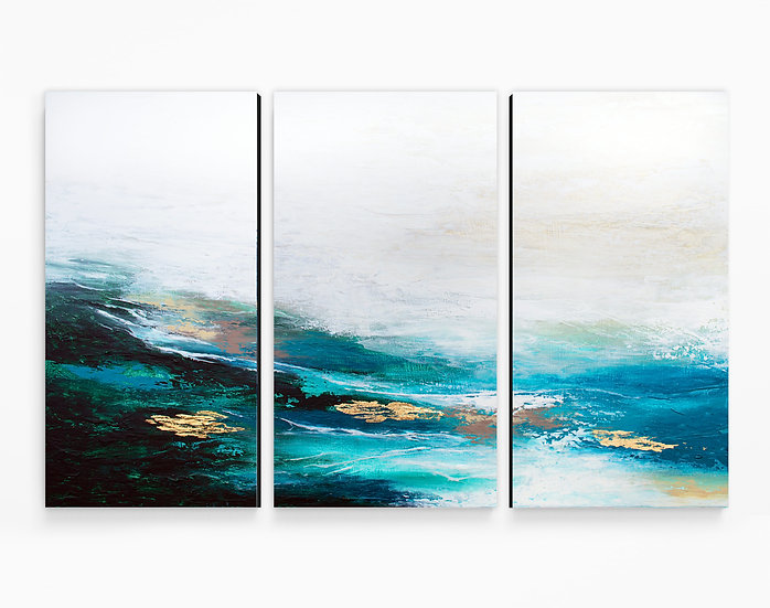 Verdant Wave Triptych Canvas Print