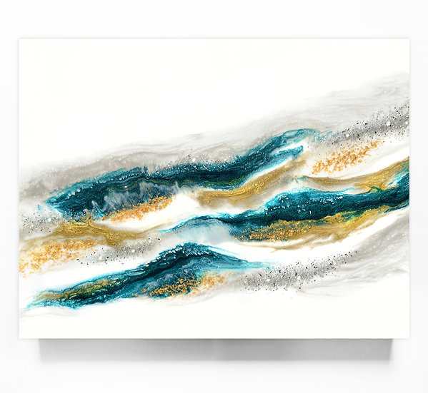 Emerald And Gold Wave *Paint To Order