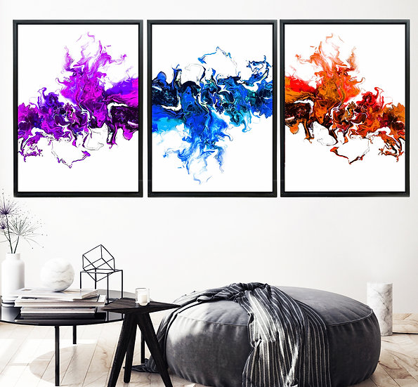 Colorful White Wave - Triptych
