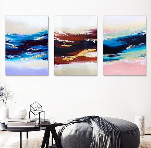 Abstract Sunset - Triptych