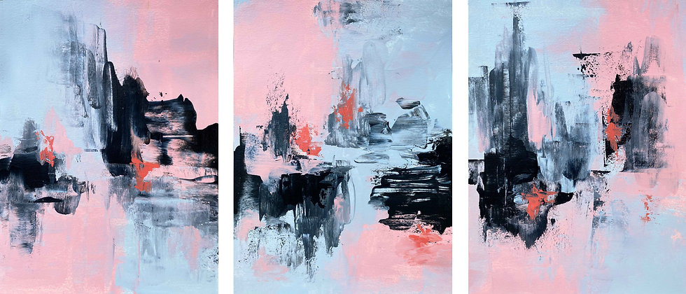 Pink Black And Grey - 3 Panel Paper Series