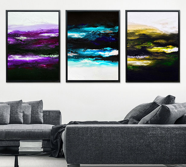 Dark Colorful Light - Triptych