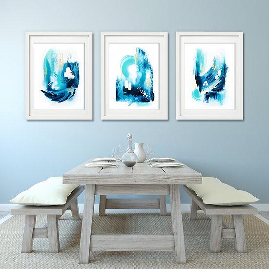 """Trident Seas"" - Three Panel Paper Series"