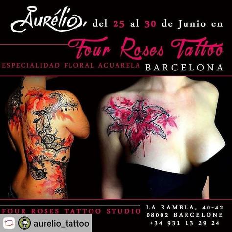 25/06 au 30/06 Aurélio Tattoo en Guest au Four Roses Tattoo Studio à Barcelone, (Spain)