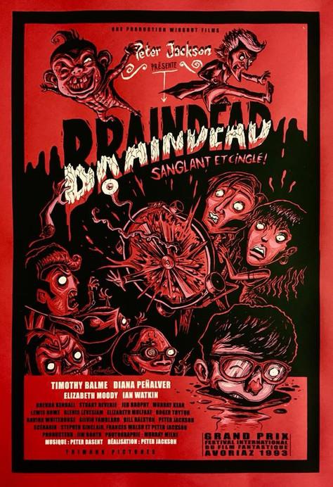 Sérigraphie cover Braindead de Peter Jackson (1992) by Aurélio.