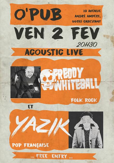 02/02 Freddy Whiteball / Yazik Live au O'PUB, Cabestany (66).
