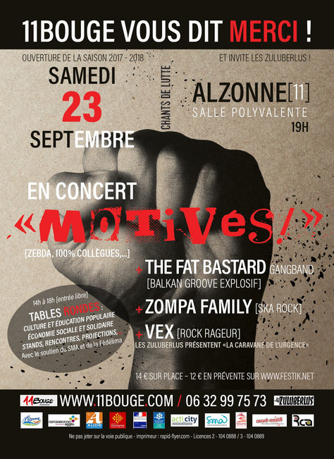 "23/09 Concert Zompa Family  ""11bouge vous dit Merci !"", salle polyvalente, Alzonne(11)."