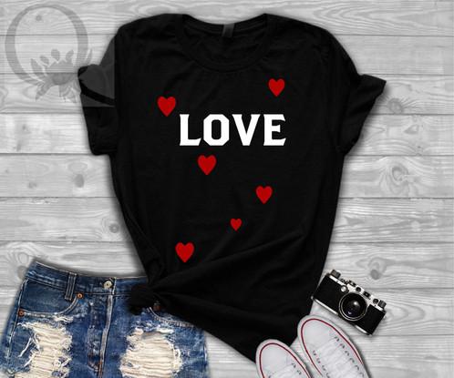 Love Hearts White Red Vinyl Valentine S Day T Shirt Slogan Women