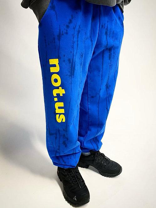 Not.US® Logo Sweatpants - Blue Splash / Yellow