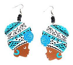 African Woman Earrings | Ethnic Wooden Earrings | African-American Fashion Earrings