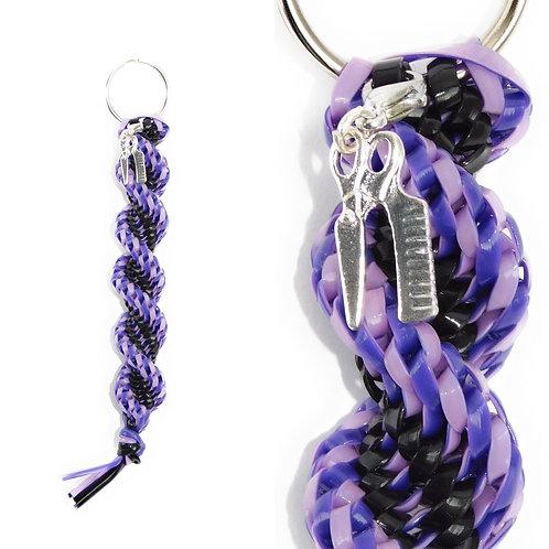 Pink/Purple & Black Keychain + Hairstylist Charm