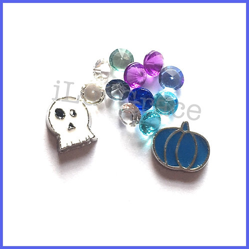 Ghost & Pumpkin Floating Memory Locket Charm