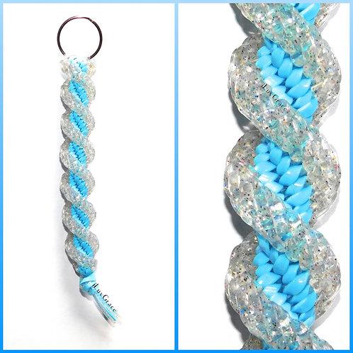 Sparkle Clear & Light Blue Keychain