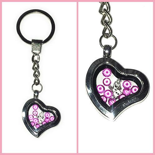 Floating Memory Locket Heart Keychain ~ Snowman & Pink Gems