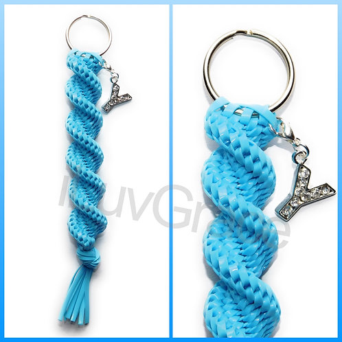 Light Blue Keychain + Letter Y Charm