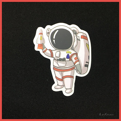 Sticker ~ Astronaut holding Rocket ~