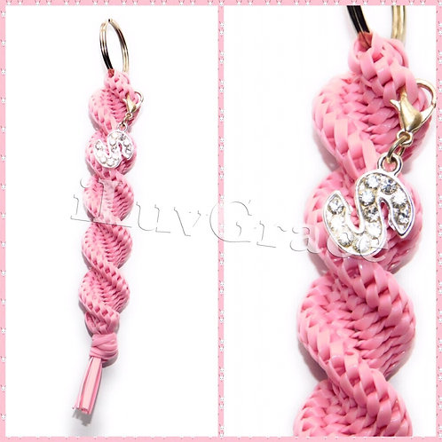 Light Pink Keychain + Letter S Charm