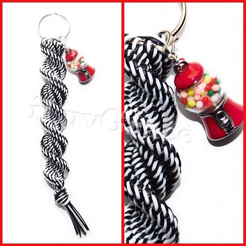 Black/White Keychain + Gum Ball Machine Charm