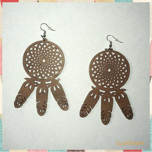 Dream Catcher Wooden Earrings