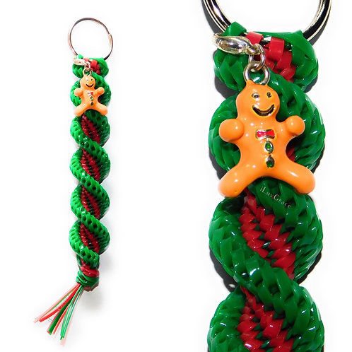Green & Red + Gingerbread Man Charm Keychain