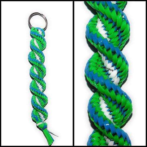 Neon Blue, Neon Green & White Keychain