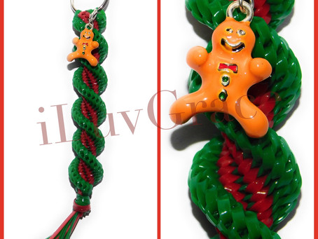 Green & Red Keychain + Gingerbread Man Charm
